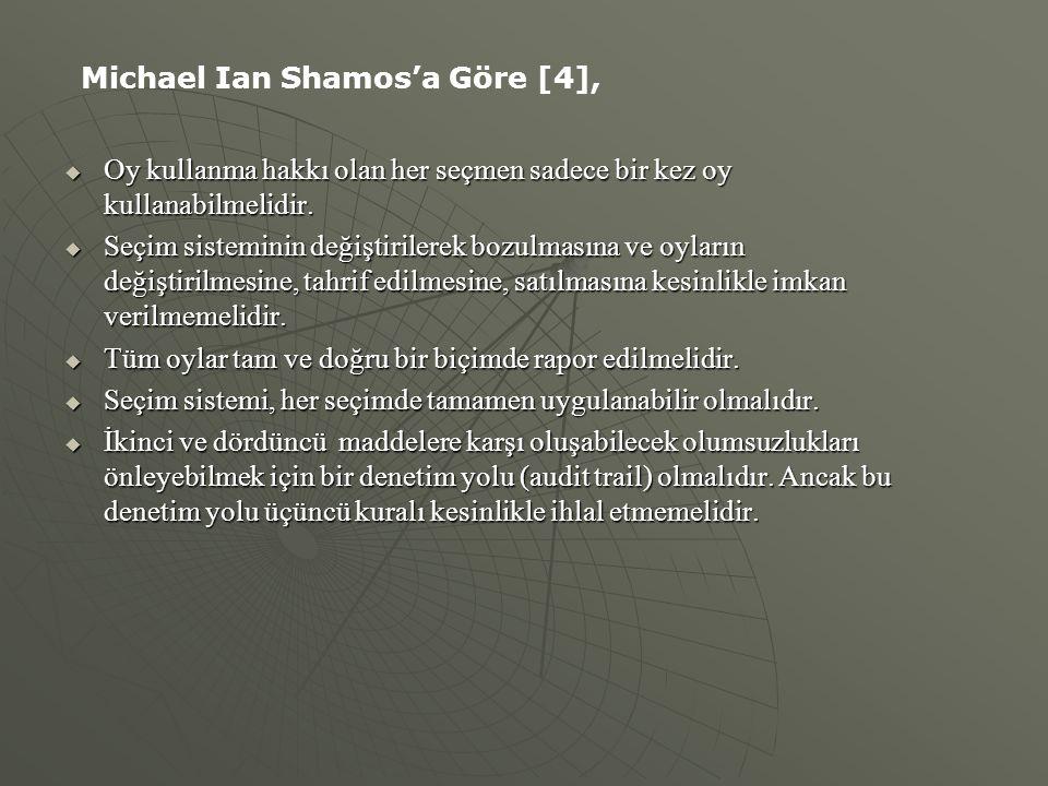 Michael Ian Shamos'a Göre [4],
